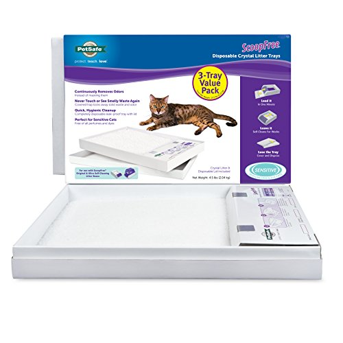 PetSafe ScoopFree Cat Litter Box Tray Refills with Sensitive Non Clumping Crystals, 3-Pack