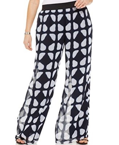 Alfani Womens Plus Chiffon Printed Palazzo Pants Navy 3X