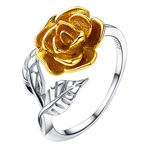 U7 Women Girls 925 Sterling Silver Cute 3-Layered Blooming Rose Ring, Adjustable Size 5 to 12