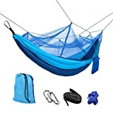 Hammock with Mosquito Net- Lightweight Nylon Portable Hammock with Tree Straps & Carabiners, Best Parachute Hammock for Bug Free Hiking,Backpacking, Camping, Travel, Beach, Yard. (blue) Review