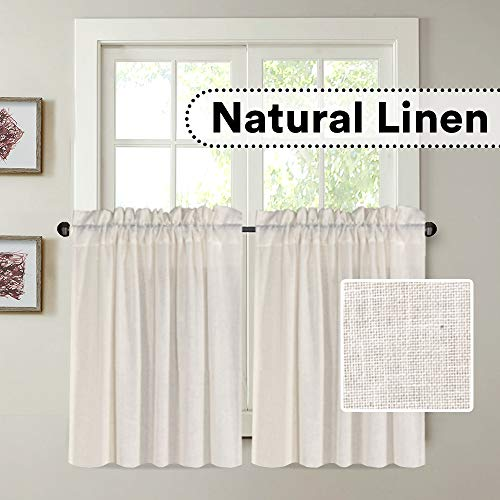 """H.VERSAILTEX Kitchen Curtains for Windows Natural Linen Textured Curtain Tiers for Bathroom Small Curtains/Drapes for Kitchen Window(2 Panels, Each 29"""" W x 24"""" L, Natural)"""