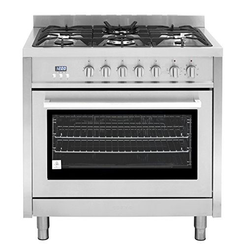 36in Freestanding Range - Cosmo F965 36-Inches Dual Fuel Gas Range with 3.8 cu. ft. Oven, 5 Burners, Convection Fan, Cast Iron Grates and Black Porcelain Oven Interior in Stainless Steel