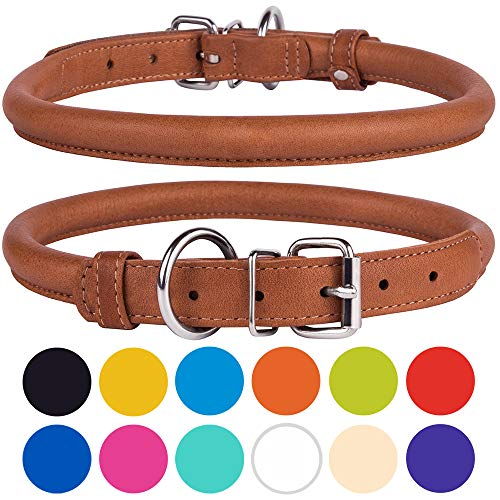 Image of CollarDirect Rolled Leather Dog Collar, Soft Padded Round Puppy Collar, Handmade Genuine Leather Collar Dog Small Large Cat Collars Black Pink Red Purple Blue (Fits 6