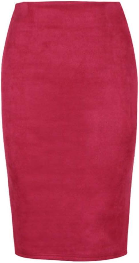 BOOSSONGKANG Vestido, Falda lápiz de Cuero Multicolor de Longitud Media Sexy Mujer 2020 Moda elástica Cintura Alta Oficina señoras fald
