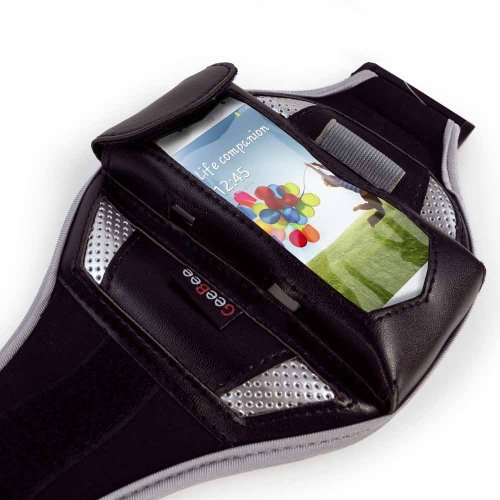 Tuff-Luv Ultimo - Sports MP3 Sportarmband Tasche Hülle im Größe: L fur (iPhone 4, 4S, 5, 5s, 5c Galaxy S2, S3, S4, HTC One, Blackberry Z10, Nexus 4, Nokia Lumia 920 900 820 800 720 700 620 etc) - schw