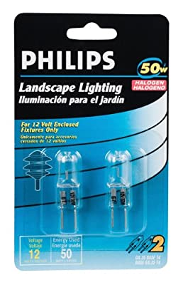 Philips 156828 Landscape Lighting 50-Watt 12-Volt GY6.35 Base T4 2 Pack