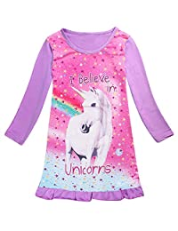 ONE's Baby Kid Girls Crewneck Long Sleeve Unicorn Frilled Sleep Dress Night Pyjamas