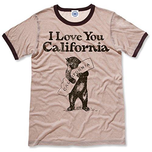 Hank Player U.S.A. I Love You California Men's Ringer T-Shirt (S, Heather Khaki)