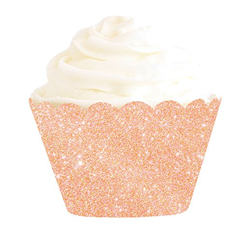 Illume Partyware Rose Gold Glitter Cupcake Wrapper, Disposable, 12 Count, 5cm Base for Birthday Party, Kids Party and Princess Party