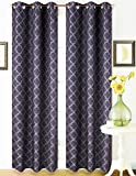 2 Panel Black Grey 95'' Geometric Lined Blackout Grommet Window Drape Curtain