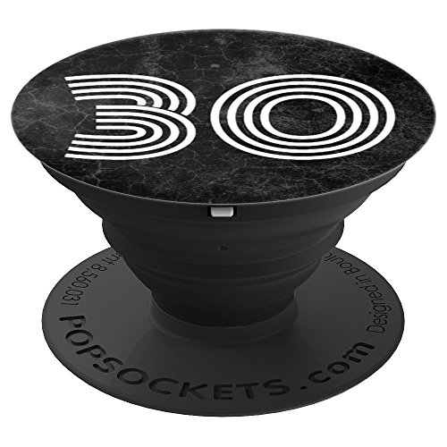 30 - Thirty One - 31st Birthday Gift Black Marble Slab - PopSockets Grip and Stand for Phones and Tablets