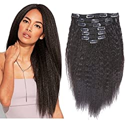 Kinky Straight Clip Ins Extensions Virgin Afro Clip In Human Hair Extensions For Black Women Brazilian Yaki Straight Natural Hair Curly Clip in Extensions Black Big Thick for African Women 16 Inch