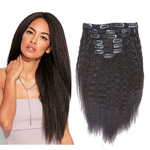 (Kinky Straight Clip Ins Extension 8A Grade Natural Hair Clip In Extensions #1B Black Color Afro Clip in Hair Extensions For Black Women Thick Yaki Clip In Hair Extensions Human Hair Full head 18 Inch)