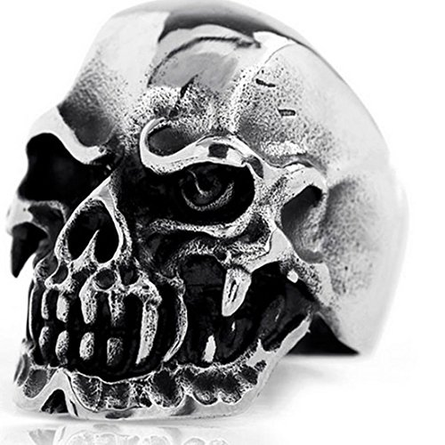 Elove Jewelry Gothic Skull Stainless Steel Men's Biker Ring, Silver Black (Jewelry Ring Gothic)
