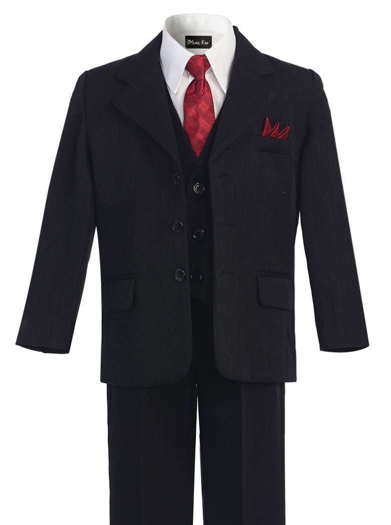 OLIVIA KOO Boys Pinstripe 6-Piece Suit With Matching Neck Tie and Pocket Square Black 10 by OLIVIA KOO (Image #1)