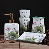 XiYunHan Creative Simple Ceramics Five-Piece Bathroom Set Couple Newly Married Washing Set Toothbrush Cup Mouth Cup Chinese Article Lotus Lotus Leaf
