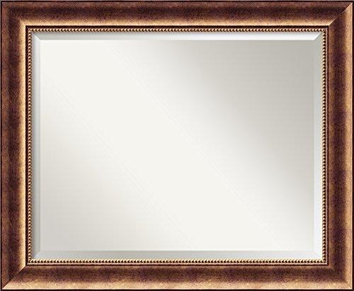 Amanti Art Framed Solid Wood Manhattan Bronze Medium Wall Mirror 33.38 x 27.38