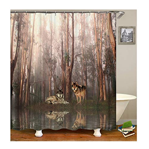 New Zeno Pilot - Gnzoe Polyester Forest and Wolf Pattern Shower Curtain 180x180CM