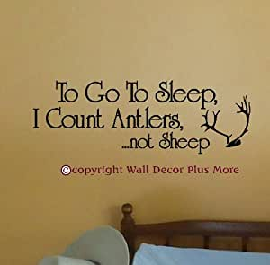 Wall Decor Plus More WDPM2958 To Go to Sleep I Count Antlers Not Sheep Nursery Wall Decal, 23-Inch X 8-Inch, Black