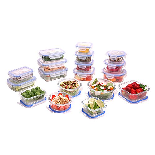 Kinetic GoGreen Glassworks Elements 36-Piece Oven Safe Glass Food Storage Container Set with Lid; 18 Containers & 18 Lids; 55131