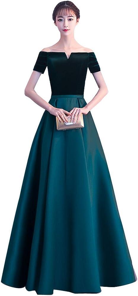 Amazon Co Jp 撮影用 ブラック 緑 謝恩会 結婚式 ロングドレス