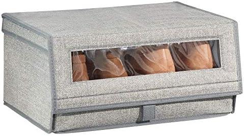 mDesign Caja para zapatos de tela (grande) – Cajas apilables con ...