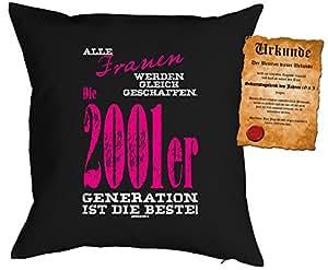 Cojín Cumpleaños: Mujeres Se Creado CC, 2001ER Generación...–Set de regalo con Gratis Escrituras–Cojín, sofá–Negro