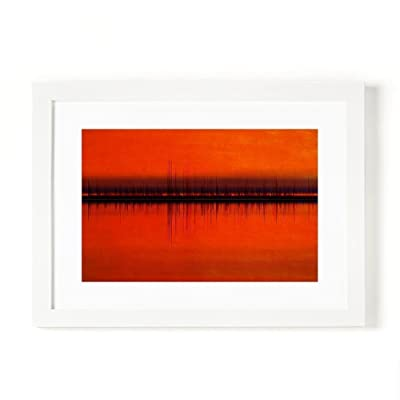 Personalized / Custom Soundwave Art, Loving Gift for Couples (Anniversary Wedding, Valentine's Day) Lake on Sunset- A4 or A3, Unframed or Framed, wedding vows