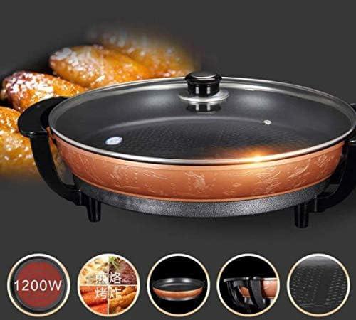Grills électriques, Poêle à frire électrique multifonction 42Cm Poêle à frire grand format Grill électrique entièrement automatique sans fumée, antiadhésif 1350W, Rouge