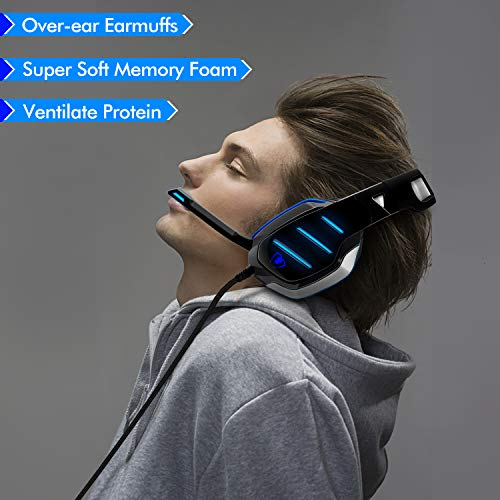 PS4 Gaming Headset with Mic, Beexcellent Newest Deep Bass Stereo Sound Over Ear Headphone with Noise Isolation LED Light for PC Laptop Tablet Mac (Blue) 10