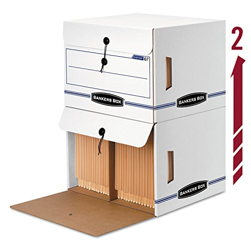 Bankers Box 00061 - Side-Tab File Storage Box, Letter, 15-1/4 x 13-1/2 x 10-3/4, White/Blue, 12/Ctn-FEL00061 by Bankers Box