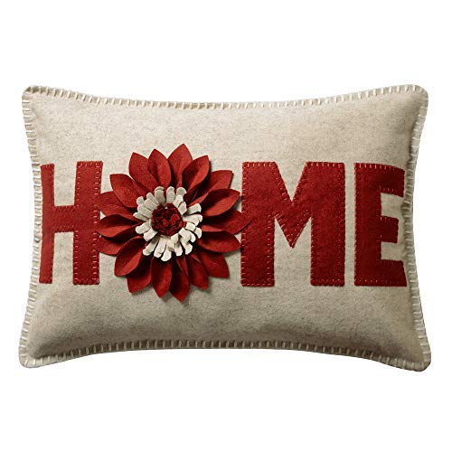 JWH 3D Sunflower Accent Pillow Case Wool Handmade Cushion Cover Decorative Stereo Pillowcase Home Bed Living Room Office Chair Couch Decor Gift 14 x 20 Inch Wool Rust Red (Decorative Room Pillows Living)