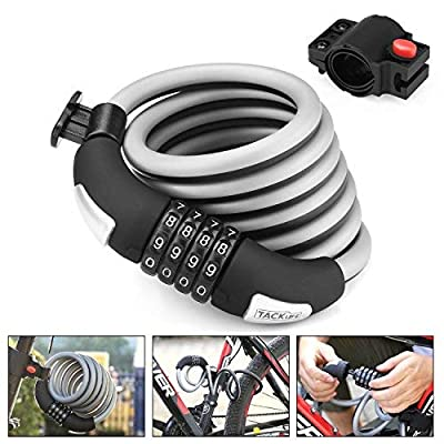 Bike Lock, 6-Feet Heavy Duty Bike lock Cable Self Coiling Resettable Combination Cable Bike Locks with Complimentary Mounting Bracket, 6 Feet x 1/2 Inch - HCL2C