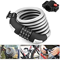 Tacklife Self Coiling Resettable Combination Cable Bike Lock with Complimentary Mounting Bracket