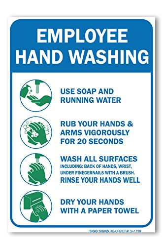 Sigo Signs (2 Pack) Employees Hand Washing Sign, 10 X 7 4 Mil Sleek Vinyl Decal Stickers Weather Resistant Long Lasting UV Protected and Waterproof Made in USA