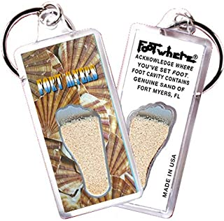 product image for Fort Myers FootWhere Souvenir Keychain (FM105 - Sea Shells). Authentic Destination Souvenir acknowledging Where You've Set Foot. Genuine Soil of Fort Myers encased Inside Foot Cavity. Made in USA