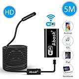 Wireless Endoscope, Abask 5M IP67 Waterproof WiFi Borescope Inspection Camera 2.0 Megapixels Snake HD Video With 8 Led Lights Security Cable Suitable For Android and IOS Smartphone, iPhone, Samsung, Tablet