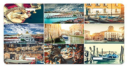 zaeshe3536658 Italian License Plate, Designed Masks for Carnivaof Venice Baroque Style Gondolas River Italy Landmark, High Gloss Aluminum Novelty Plate, 6 X 12 Inches. by zaeshe3536658