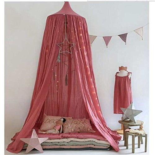 (LiCheng Mosquito Net Canopy Cotton Cloth Round Dome,Hanging Bed Canopy Curtains for Twin,Queen &Full Size Bed Red)