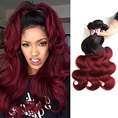 "Racily Hair Ombre Brazilian Hair Body Wave 3 Bundles Red Wine Hair Extensions Burgundy Brazilian Hair Bundles (20""22""24"")"