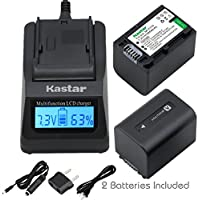 Kastar Fast Charger + NPFH70 Battery (2-Pack) for Sony NP-FH100, FH60, FH70, NP-FH90, TRV and Sony DCR-DVD405 407E 408 410E 450 602E 650E DCR-HC96 DCR-SR85 HDR-HC9 HDR-UX20 HDR-SR12 DCR-SR65E XR500E