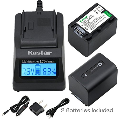 (Kastar Ultra Fast Charger Kit and Battery (2-Pack) for Sony NP-FV70 CB-TRV & Sony FDR-AX53, HDR-CX675, HDR-CX455, HDR-CX900, TD30V, HDR-PV710V, HDR-PJ670, HDR-PJ810, HDR-TD30V, FDR-AX33, FDR-AX100)
