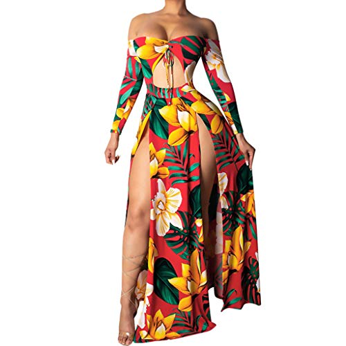 (Aniywn Women's Long Sleeve Off Shoulder Boho Floral Print Beach High Split Maxi Dress Holiday Party Dress Orange)