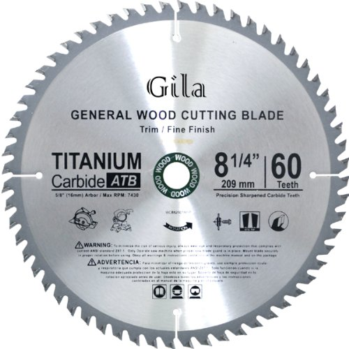 (GilaTools 8-1/4-Inch 60 Teeth ATB Trim and Fine Finish Carbide Saw Blade)