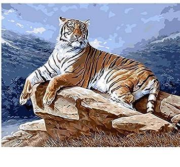 Liweixky Rahmenlos Tiger ölgemälde Diy Malen Nach Zahlen