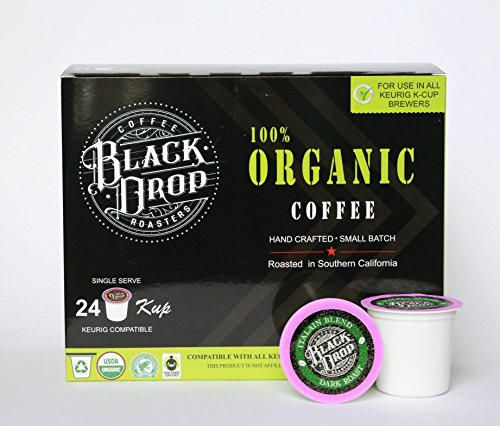 Black Drop Coffee: 24 Cup Organic Italian Blend Dark Roast-Single Serve Coffee Pods for Keurig K-Cup Brewers, Bold Strong Rich & Unforgettable! Keurig 1.0 & 2.0 Compatible Our Most Popular, Specialty