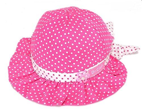 Dealzip Inc® Lovely Hot Pink Baby Girl Bowknot Polka Dots Summer Sun Beanie Hat - Flower Cap for Beach
