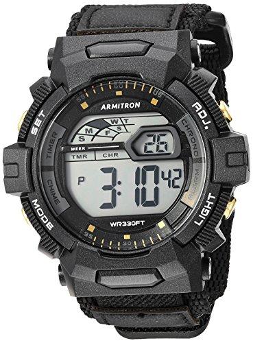 Armitron Sport Men's 40/8412BGD Digital Chronograph Black Nylon Strap Watch