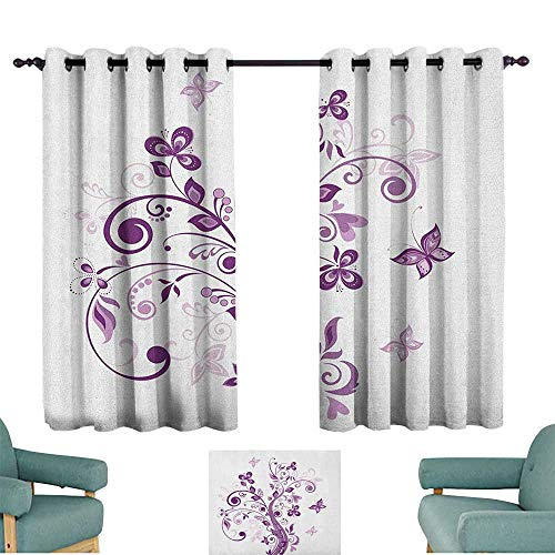"""WinfreyDecor Mauve Bedroom windproofcurtain Tree with Swirled Branches and Flowers Leaf Butterfly Bridal Inspirations Theme Set of Two Panels 72"""" Wx45 L Purple White"""