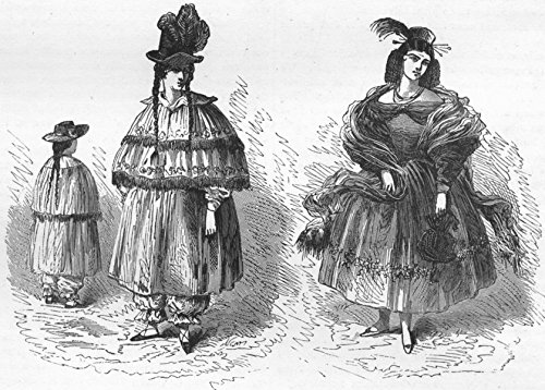 1880's Ladies Costume (PERU. Riding, full-dress costume, Peruvian Ladies - 1880 - old print - antique print - vintage print - Peru art prints)